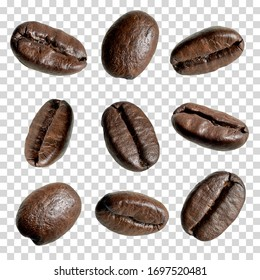 Close up coffee beans collection on isolated background including clipping path