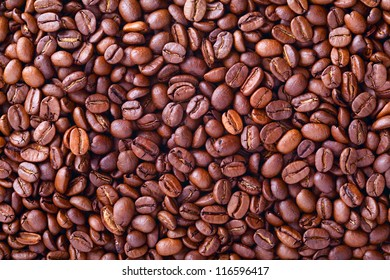 Close up of  coffee beans as a interesting food background