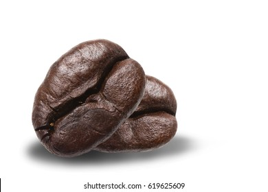 Close up coffee beans isolated on white background