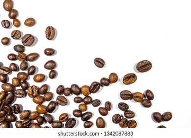 Close up of Coffee beans on white background with copy space