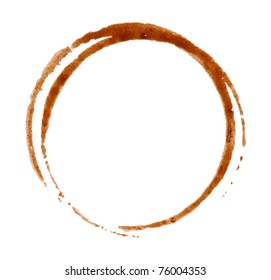 Close up of coffee cup stains isolated on white background