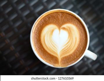 Close up Coffee latte art on black background
