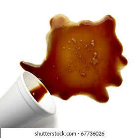 close up coffee stains on white background