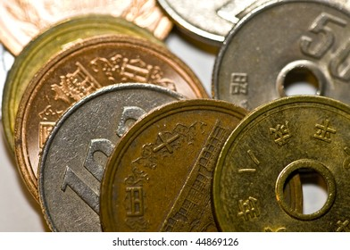 close up of coins of the japanese currency