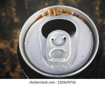 Close up of cola can drink