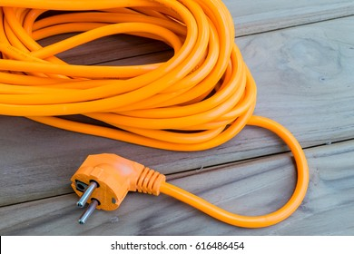 close up color orange electric extension cord