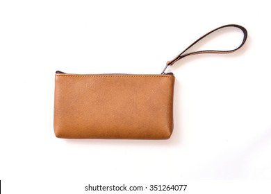 Close up color womens leather  purse isolated on white background