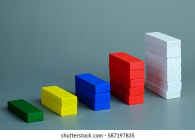 Close up of Color wood block with representing a graph on gray background. Business growth concept and copy space.