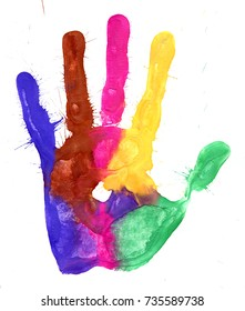 Close up of colored hand print on white background