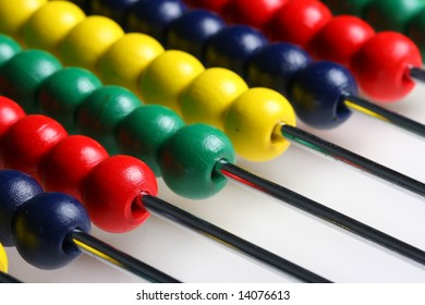 Close up of a colorful abacus
