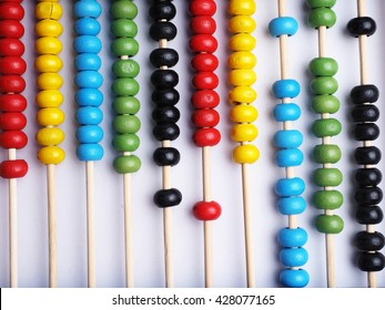 Close up colorful abacus, traditional abacus in front of white background.