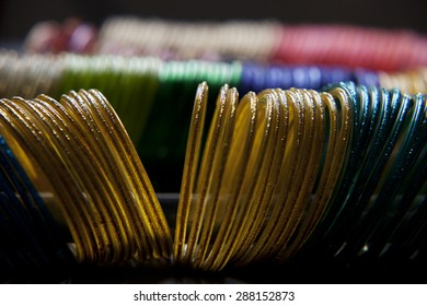 Close up of colorful bangles