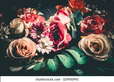 Close up colorful bunch of beautiful flowers.Vintage or retro tone.