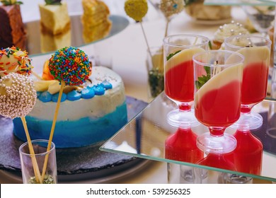 Close up of a colorful candy bar. Table with sweets, candies, dessert