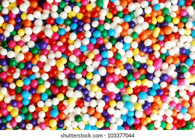 Close up of colorful candy sprinkles