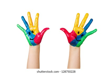 Close up of colorful child hands with happy faces isolated on white background