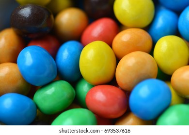 Close up of colorful chocolate candy