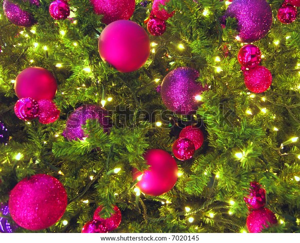 Close up of colorful Christmas tree decorations