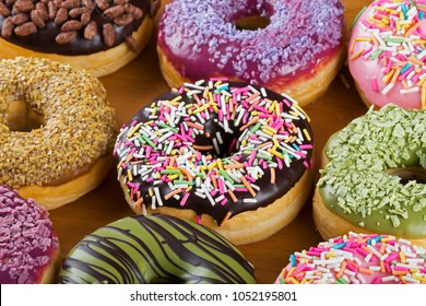 Close up of colorful and delicious donuts a fovorite meal for breakfast