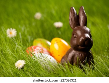 Close up of colorful Easter eggs and chocolate bunny in fresh spring grass.