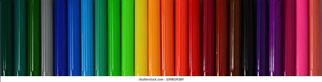 Close up colorful felt tip pen.