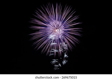 Close up of colorful firework from japanese traditional summer festival
