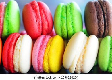 close up of colorful french macaron background.