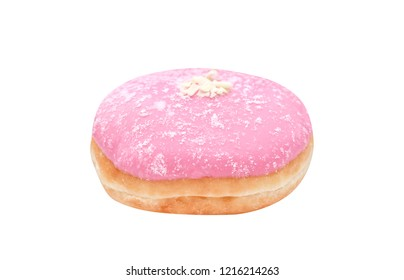 Close up colorful fresh pink donut sugary isolated on white background