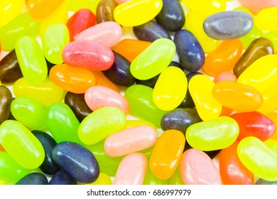 Close up colorful jelly beans pattern background.