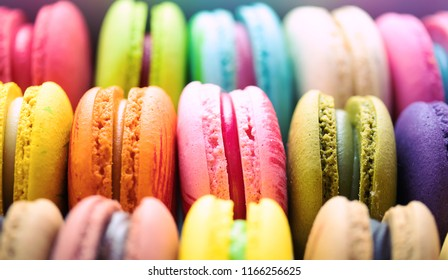 Close up colorful macaroons dessert.