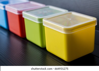 Close up colorful plastic box