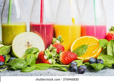 Close up of colorful smoothies with various ingredients.  Superfoods and healthy lifestyle or detox  diet food concept.