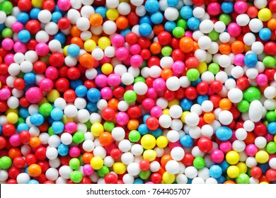 close up of colorful sprinkle for topping ice cream and cake