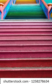 Close up of the colorful staircase which is located at Batu Caves, Kuala Lumpur.