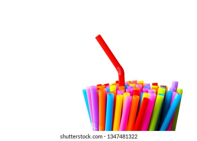 Close up colorful straw for drink isolated on white background