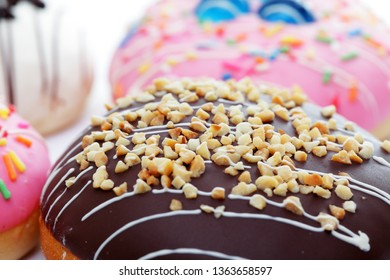 close up of colorful sweet donut