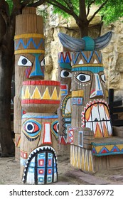 close up of a colorful totem.