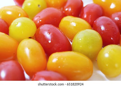 Close up of colorful variety of fresh cherry tomatoes