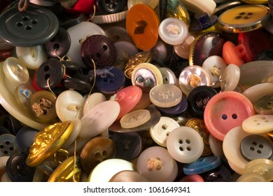 Close up of colorful vintage buttons of difference sizes