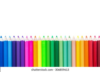 Close up colour pencils isolated on white background