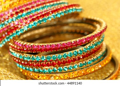 Close up of colourful Indian bangles. (Shallow DOF)