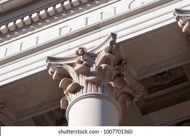 A close up of a column on Washington's State Capitol Legislative Building in Olympia, WA, USA.