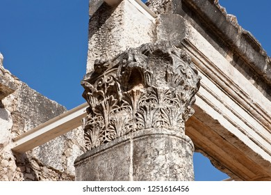 close up of column in ruins of the great synagogue on the northern shore of the Sea of Galilee, Capernaum, Israel