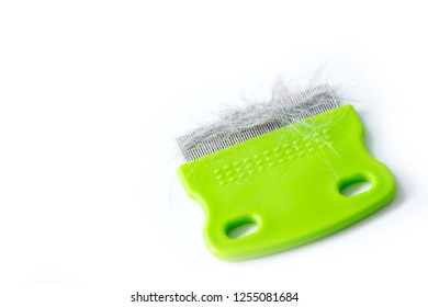 Close up comb of pet brush with cat fur clump or tuft wool after grooming on white background