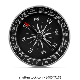 close up of compass isolated on a white background