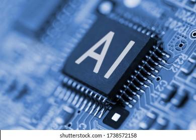 Schließen Sie den Computer-Chip mit AI-Zeichen. Künstliche Intelligenz.