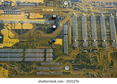 Close up of a computer circuit board in detail