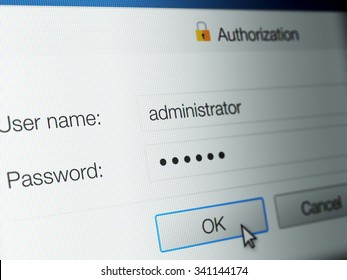 Close up of computer generated screen showing password login page