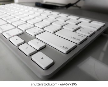 close up computer keyboard isolated on table