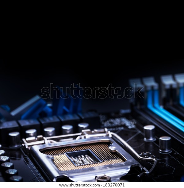 Close up of computer motherboard